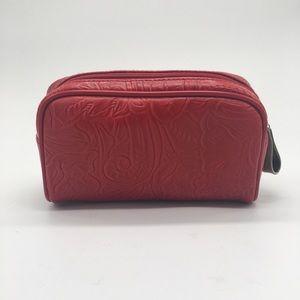 Oscar de la Renta Red Tooled Cosmetic Case